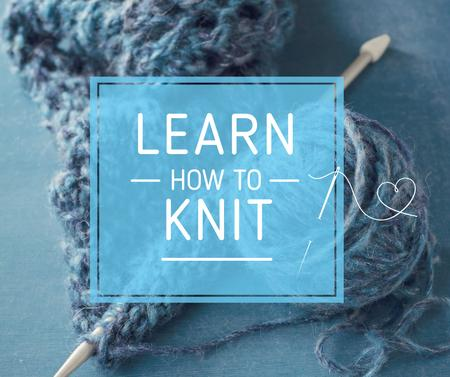 Knitting Workshop Needle and Yarn in Blue Facebookデザインテンプレート