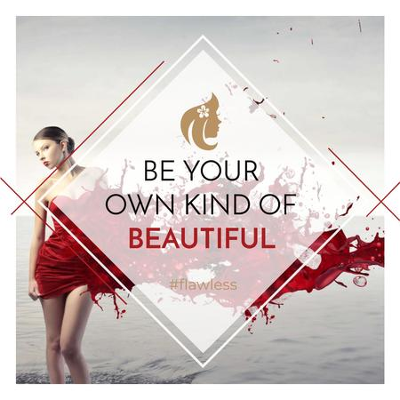 Beauty quote with Young attractive Woman Instagram AD Design Template