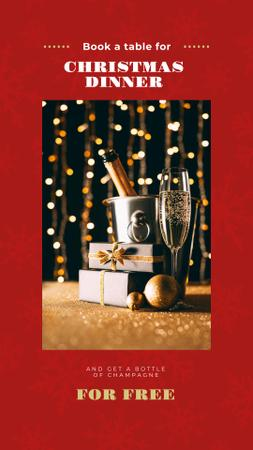 Christmas Dinner Offer with Champagne and Gift Instagram Story – шаблон для дизайна