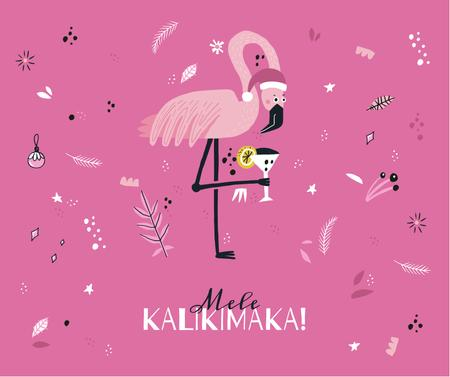 Plantilla de diseño de Mele Kalikimaka with party Flamingo Facebook