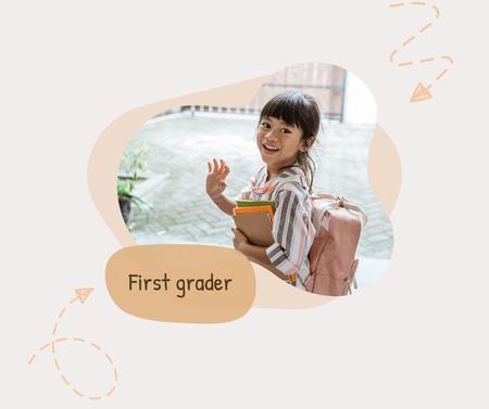 Cute Smiling Girl First Grader Facebook Design Template