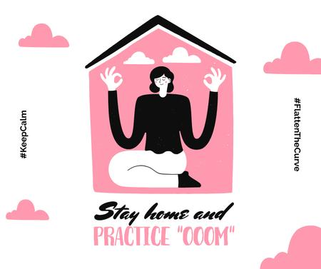Plantilla de diseño de #KeepCalm challenge Woman meditating at Home Facebook
