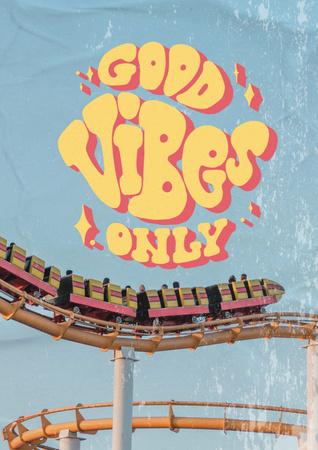 Ontwerpsjabloon van Poster van Inspirational Phrase with Roller Coaster Ride