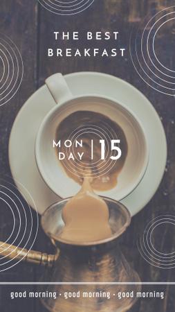 Ontwerpsjabloon van Instagram Story van Fresh Coffee in Cup for Breakfast