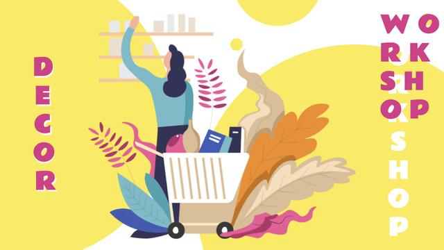 Modèle de visuel Decor Workshop with Woman shopping - FB event cover