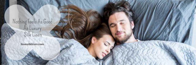 Luxury silk linen Offer with Couple sleeping Email header – шаблон для дизайна