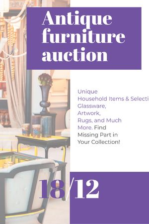 Szablon projektu Antique Furniture Auction Vintage Wooden Pieces Tumblr