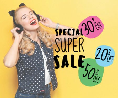 special super sale yellow banner with young woman in headphones Large Rectangle Modelo de Design