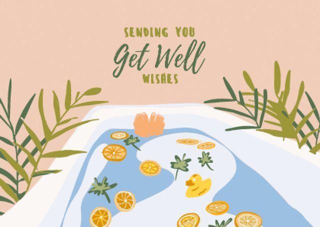 Get Well Wishes with Oranges in Bath Card – шаблон для дизайну