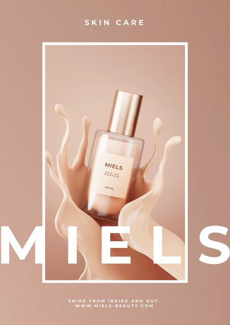 Bottle with skincare lotion Poster Design Template