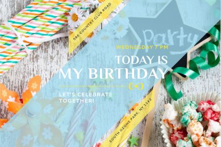 Birthday Party Invitation with Bows and Ribbons Gift Certificate Design Template