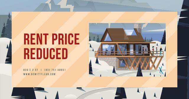 Snowy mountain resort Facebook AD Modelo de Design
