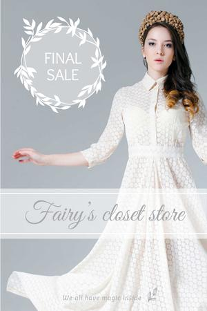 Plantilla de diseño de Clothes Sale with Woman in White Dress Pinterest