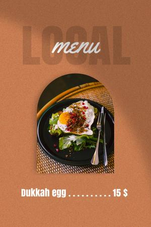 Menu Ad with Fried Egg on Plate Pinterest Design Template