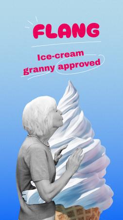 Funny Illustration of Granny hugging Ice Cream Instagram Story Design Template