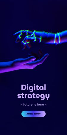 Modèle de visuel Digital Strategy Ad with Human and Robot Hands - Graphic