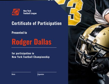 Football Championship participation confirmation Certificate Modelo de Design