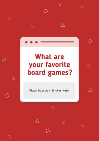 Plantilla de diseño de Favorite Board Games question on blue Poster