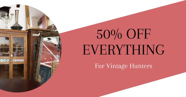 Vintage Furniture Shop Ad Antique Cupboards Facebook AD Design Template