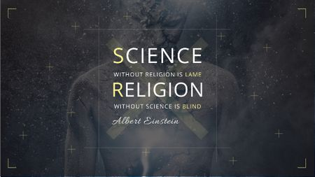 Science and Religion Quote with Human Image Title Modelo de Design