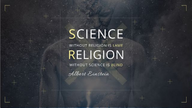 Science and Religion Quote with Human Image Title – шаблон для дизайна