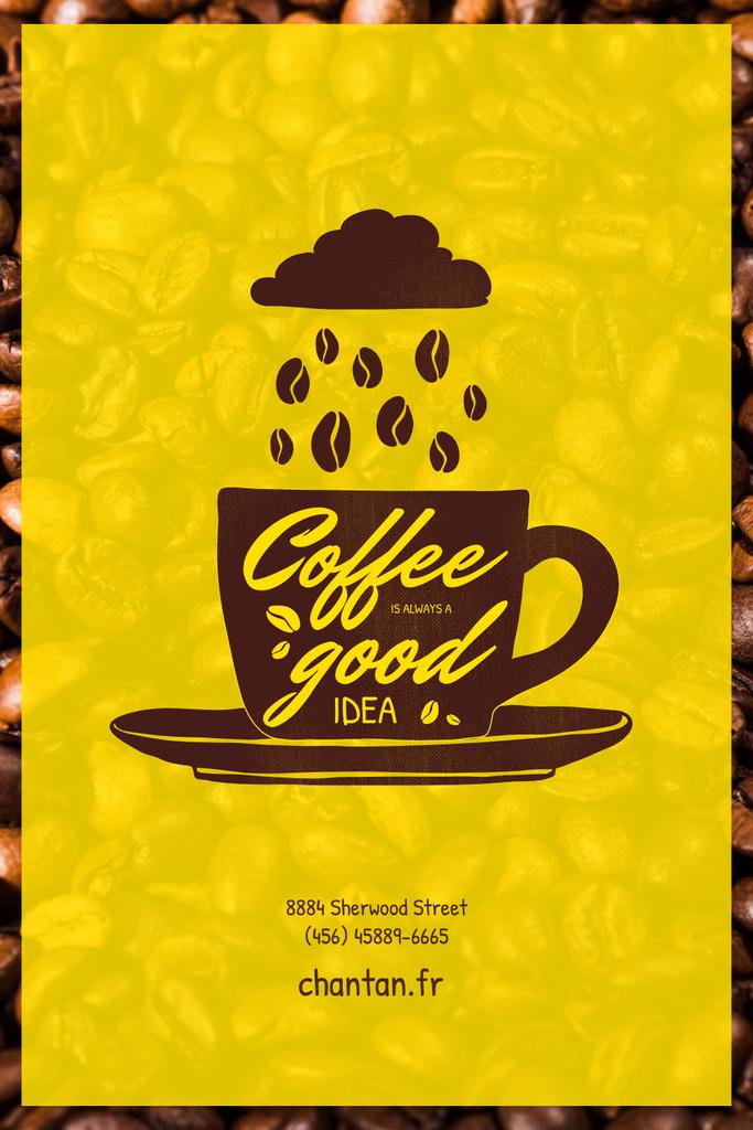 Ontwerpsjabloon van Pinterest van Coffee Beans falling Into Cup from Cloud