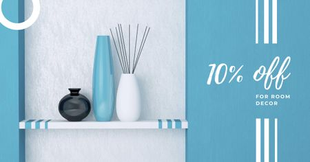 Vases for home decor in blue Facebook AD – шаблон для дизайна