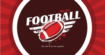 Football Event Announcement Ball in Red