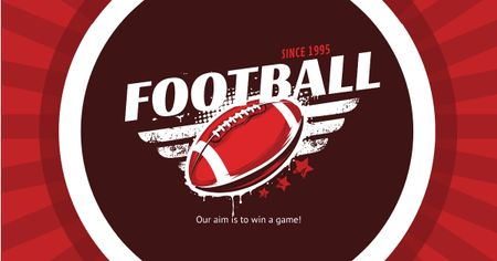 Football Event Announcement Ball in Red Facebook AD Tasarım Şablonu