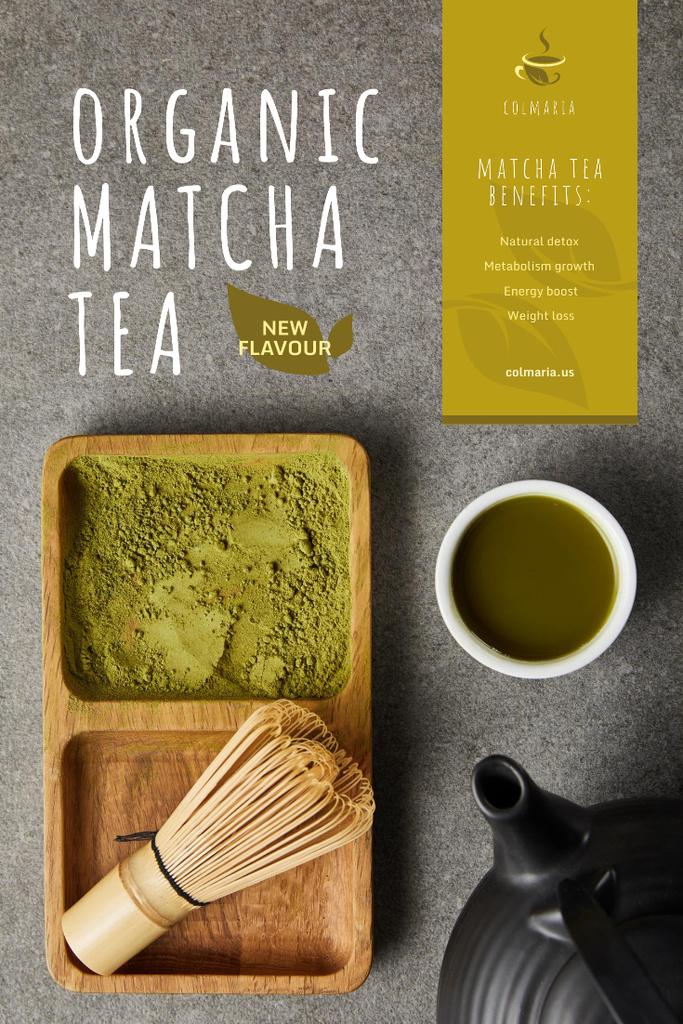Matcha Tea Offer with Utensils and Powder Pinterest Design Template