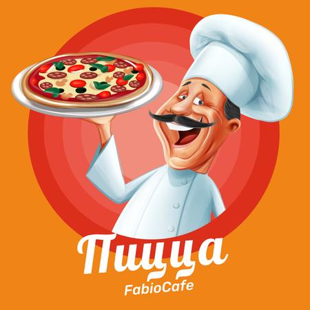 Pizza Party Day with Smiling Chef Instagram – шаблон для дизайна