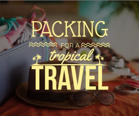 Packing for a tropical travel poster Medium Rectangle Tasarım Şablonu