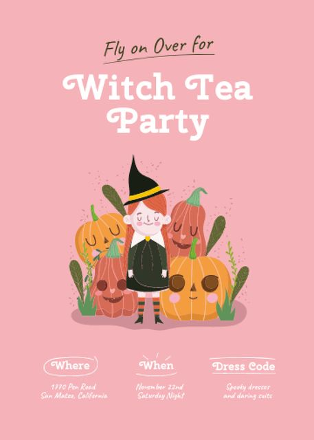 Halloween Party Announcement with Cute Witch and Pumpkins Invitation – шаблон для дизайна