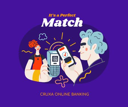 Online Banking Ad with Man paying by Phone Facebookデザインテンプレート