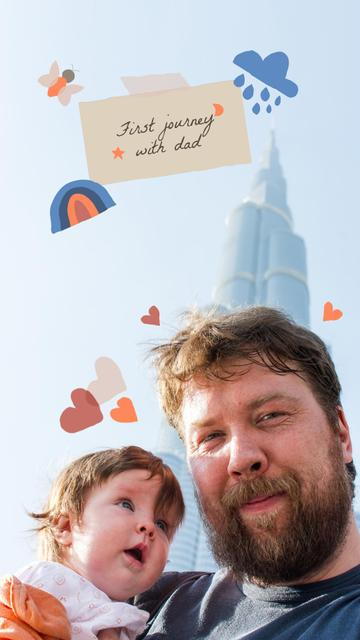Cute Dad travelling with Little Child Instagram Story Design Template