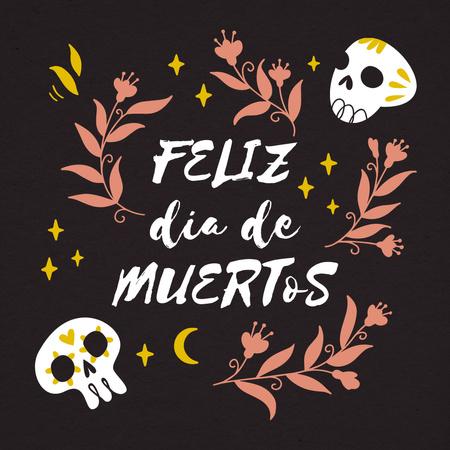 Dia de los Muertos Holiday Celebration with Painted Skulls Animated Post – шаблон для дизайна