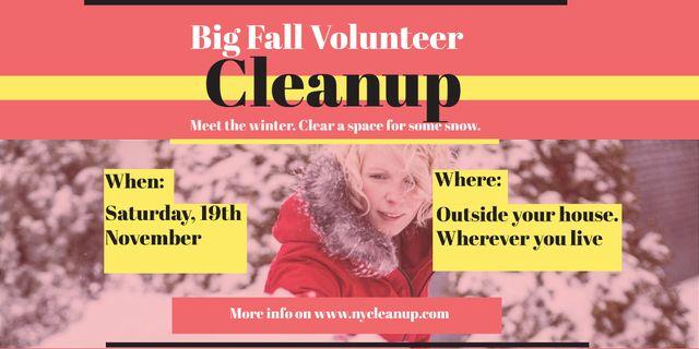 Plantilla de diseño de Winter Volunteer clean up Twitter