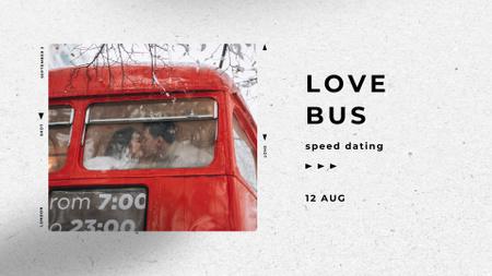 Ontwerpsjabloon van FB event cover van Speed Dating Ad with Lovers in Bus