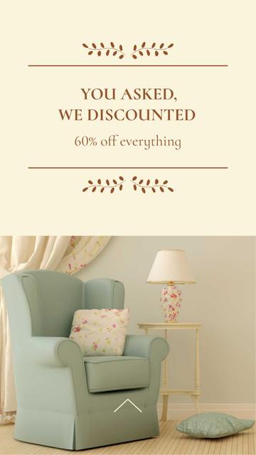 Furniture Sale Offer with Stylish Armchair Instagram Story Tasarım Şablonu