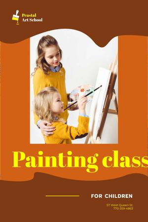 Art Classes Ad with Children Painting by Easel Pinterestデザインテンプレート
