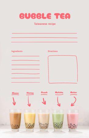 Ontwerpsjabloon van Recipe Card van Bubble Tea Cooking Steps