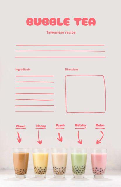 Bubble Tea Cooking Steps Recipe Card – шаблон для дизайна