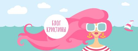 Lifestyle Blog with Woman with Pink Hair by the Sea Facebook cover – шаблон для дизайна