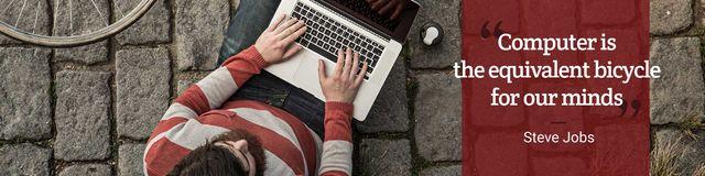 Modèle de visuel Motivational Quote with Young Man using laptop - Twitter