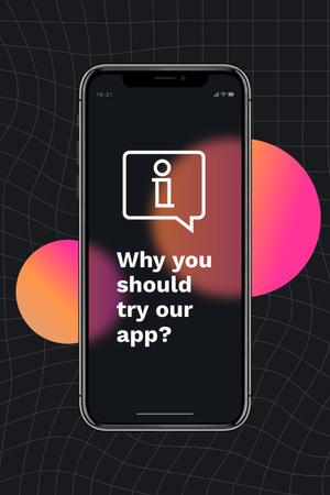 Modèle de visuel Startup Idea with App on Phone Screen - Pinterest