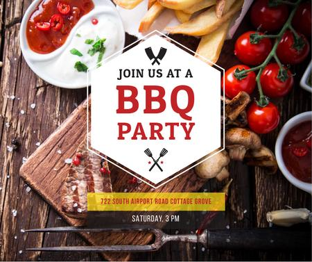 BBQ Party Invitation with Grilled Steak Facebook Modelo de Design