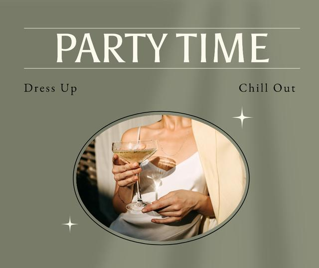 Party Announcement with Attractive Woman holding Champagne Facebook Design Template