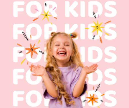 Happy Smiling Little Girl Medium Rectangle Design Template