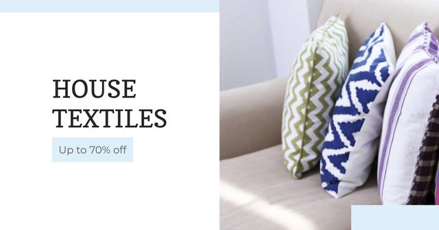 Home Textiles Ad Pillows on Sofa Facebook AD Modelo de Design