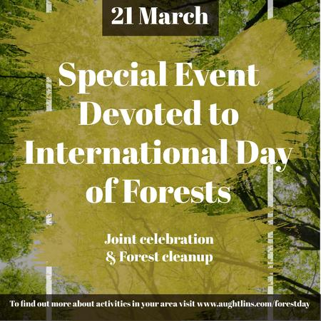 Plantilla de diseño de International Day of Forests Event Tall Trees Instagram AD